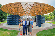 Hans Ulrich, Francis Kere the designer and Yana Peel - The new Serpentine Pavillion designed by Francis Kere is opened outside the gallery in Hyde Park.