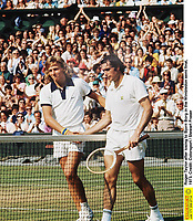 Roger Taylor after losing to Bjorn Borg in the Wimbledon tennis Championships 1/4 final, 1973. Borg was playing in his 1st Wimbledon tennis Champs.Credit: Colorsport / Stewart Fraser