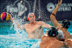 Robin Lindhout of the Netherlands in action against France during the Olympic qualifying tournament. The Dutch water polo players are on the hunt for a starting ticket for the Olympic Games on February 17, 2021 in Rotterdam