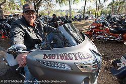 Jason Sims on his Motorcycle Cannonball Indian at the Cycle Source bike show at the Broken Spoke Saloon during Daytona Beach Bike Week. FL. USA. Tuesday, March 14, 2017. Photography ©2017 Michael Lichter.