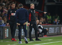 """AFC Bournemouth manager Eddie Howe gestures on the touchline during the Carabao Cup, third round match at the Vitality Stadium, Bournemouth. PRESS ASSOCIATION Photo. Picture date: Tuesday September 19, 2017. See PA story SOCCER Bournemouth. Photo credit should read: Steven Paston/PA Wire. RESTRICTIONS: EDITORIAL USE ONLY No use with unauthorised audio, video, data, fixture lists, club/league logos or """"live"""" services. Online in-match use limited to 75 images, no video emulation. No use in betting, games or single club/league/player publications."""