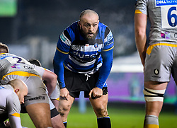 Tom Dunn of Bath Rugby guards the ruck - Mandatory by-line: Andy Watts/JMP - 08/01/2021 - RUGBY - Recreation Ground - Bath, England - Bath Rugby v Wasps - Gallagher Premiership Rugby