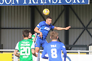 Cove Rangers Leighton McIntosh (11) heads the ball during the Betfred Scottish League Cup match between Cove Rangers and Hibernian at Balmoral Stadium, Aberdeen, Scotland on 10 October 2020.