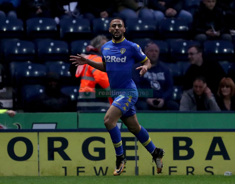Leeds United's Kemar Roofe celebrates