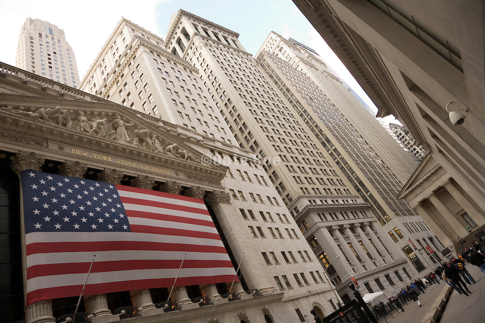 Wall Street with the New York Stock Exchange