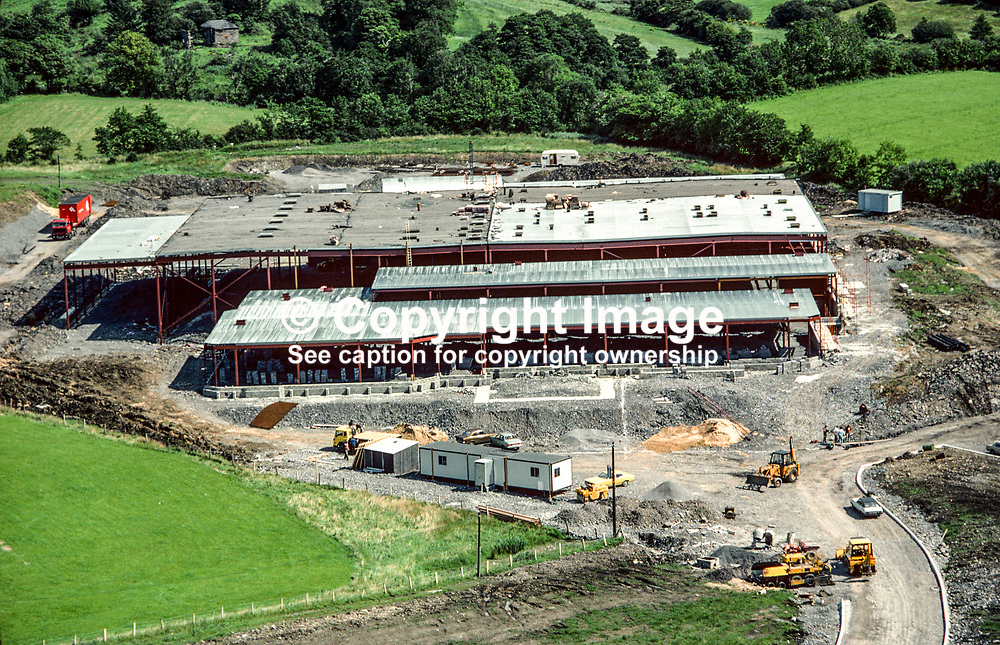 Aeral photograph of the Abbott Ireland factory under construction at Lurganboy, near Donegal Town, Rep of Ireland, in 1979. 119790166a.<br /> <br /> Copyright Image from Victor Patterson, Belfast, UK<br /> <br /> t: +44 28 9066 1296 (from Rep of Ireland 048 9066 1296)<br /> m: +44 7802 353836<br /> e: victorpattersonbelfast@gmail.com<br /> <br /> www.images4media.com<br /> <br /> Please see my full Terms and Conditions of Use at https://www.images4media.com/p/terms-conditions - it is IMPORTANT that you familiarise yourself with them.<br /> <br /> Images used online incur an additional cost. This cost should be agreed in writing in advance. Online images must be visibly watermarked i.e. © Victor Patterson or that of the named photographer within the body of the image. The original metadata must not be deleted from images used online.<br /> <br /> This image is only available for the use of the download recipient i.e. television station, newspaper, magazine, book publisher, etc, and must not be passed on to a third party. It is also downloaded on condition that each and every usage is notified within 7 days to victorpattersonbelfast@gmail.com.<br /> <br /> The right of Victor Patterson (or the named photographer) to be identified as the author is asserted in accordance with The Copyright Designs And Patents Act (1988). All moral rights are asserted.
