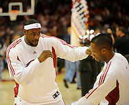 LeBron James, left, and teammate Damon Jones of Cleveland play a little game of shadow boxing before a game against visiting Memphis.