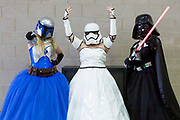 UNITED KINGDOM, London: 26 May 2019 <br /> Cosplayers dressed as female Star Wars characters pose for a picture at London ExCeL during the final day of the MCM London Comic Con. The three day comic convention is being held at London ExCeL from Fri 24th - Sun 26th of May.