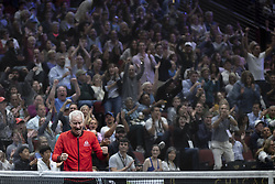 September 22, 2018 - Chicago, Illinois, U.S - Team World coach JOHN MCENROE celebrates JOHN ISNER'S point during the first singles match between Team Europe and Team World on Day Two of the Laver Cup at the United Center in Chicago, Illinois. (Credit Image: © Shelley Lipton/ZUMA Wire)