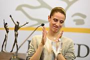 Nicolas Celaya/ URUGUAY/ MONTEVIDEO/ TORRE EJECUTIVA<br /> En la foto, María Noel Riccetto, durante una conferencia de prensa y presentacion del premio que gano a mejor bailarina, el Benoise de la Danse, galardón más importante de la danza clásica en el mundo, en Torre Ejecutiva. Nicolás Celaya /adhocFOTOS<br /> 2017 - 1 de junio - jueves