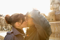Close up of a couple kissing