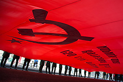 May 5, 2017 - Saint Petersburg, Russia - Cadets carry an enlarged copy of the Banner of Victory during a celebration of the upcoming Victory Day in St.Petersburg, Russia, Friday, May 5, 2017. (Credit Image: © Igor Russak/NurPhoto via ZUMA Press)