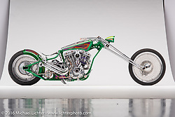 """Spitball Magoo"", a green digger built from a shovelhead by Wayne Burgess of Ontario, Canada. Photographed by Michael Lichter during the Easyriders Bike Show in Columbus, OH on February 20, 2016. ©2016 Michael Lichter."