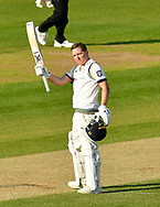100 for Gary Ballance of Yorkshire - Gary Ballance of Yorkshire celebrates scoring a century and is congratulated by Joe Root of Yorkshire during the Specsavers County Champ Div 1 match between Hampshire County Cricket Club and Yorkshire County Cricket Club at the Ageas Bowl, Southampton, United Kingdom on 11 April 2019.