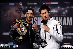 Kal Yafai and Sho Ishida during the press conference at the National Museum Cardiff.