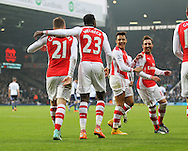 Arsenal's Danny Welbeck celebrates scoring his sides opening goal with Alexis Sanchez and Santi Cazorla <br /> <br /> Barclays Premier League- West Bromwich Albion vs Arsenal - The Hawthorns - England - 29th November 2014 - Picture David Klein/Sportimage