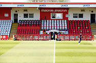 Ground shot of the dug outs during the EFL Sky Bet League 2 match between Stevenage and Bradford City at the Lamex Stadium, Stevenage, England on 5 April 2021.