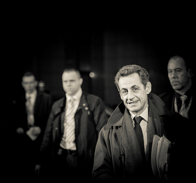 Brussels, Belgium 16 December 2010<br /> French President Nicolas Sarkozy arrives at the European Union leaders summit in Brussels.<br /> Photo: Ezequiel Scagnetti