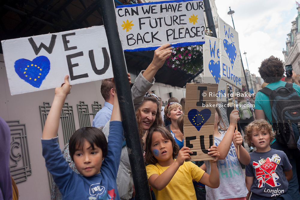 "Thousands of British voters march through London to protest against the referendum decision to leave the EU (Brexit) on 2nd July 2016, in London UK. Demonstrators at the ""March for Europe"" rally, which was organised on social media walked from Park Lane into the heart of the UK government in Westminster to send a message of dissatisfaction in the referendum result. More than 46.5 million people voted in the referendum on 23 June, which resulted in the UK voting by 51.9% to 49.1% to withdraw from the EU."