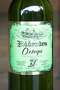Bottle of Ortega white wine at Biddenden English Vineyards in Kent, England, UK