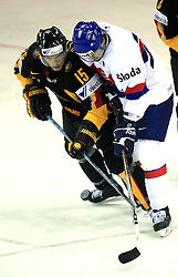 Stefan Ustorf of Germany and Robert Petrovicky of Slovakia at ice-hockey match Germany (played in old replika jerseys from year 1946) vs Slovakia at Preliminary Round (group C) of IIHF WC 2008 in Halifax, on May 05, 2008 in Metro Center, Halifax, Nova Scotia, Canada. Germany won 4:2. (Photo by Vid Ponikvar / Sportal Images)