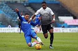 Omar Bogle of Peterborough United is tackled by Bradley Garmston of Gillingham - Mandatory by-line: Joe Dent/JMP - 10/02/2018 - FOOTBALL - MEMS Priestfield Stadium - Gillingham, England - Gillingham v Peterborough United - Sky Bet League One