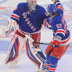 May 7, 2012: New York Rangers goalie Henrik Lundqvist (30) and left wing Carl Hagelin (62) celebrate their overtime victory in game 5 of the NHL Eastern Conference Semi-finals between the Washington Capitals and New York Rangers at Madison Square Garden in New York, N.Y.