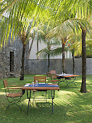Breakfast tabels set at a hotel in Galle, Sri Lanka
