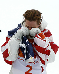 February 14, 2018 - Pyeongchang, South Korea - SHAUN WHITE (USA) is overcome with emotion and celebrates winning gold in the mens snowboarding halfpipe final during the Pyeongchang 2018 Olympic Winter Games at Phoenix Snow Park. (Credit Image: © David McIntyre via ZUMA Wire)