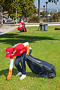 Keller Williams volunteers help clean up at John Adams Middle School in Santa Monica. More than 30,000 associates from <br /> Keller Williams Realty across the United States and Canada participate in the third annual RED Day, May 12, 2011. Santa Monica, California, USA