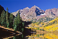 Maroon Bells of the Elk Mountains during the autumn season.  Colorado.  USA.