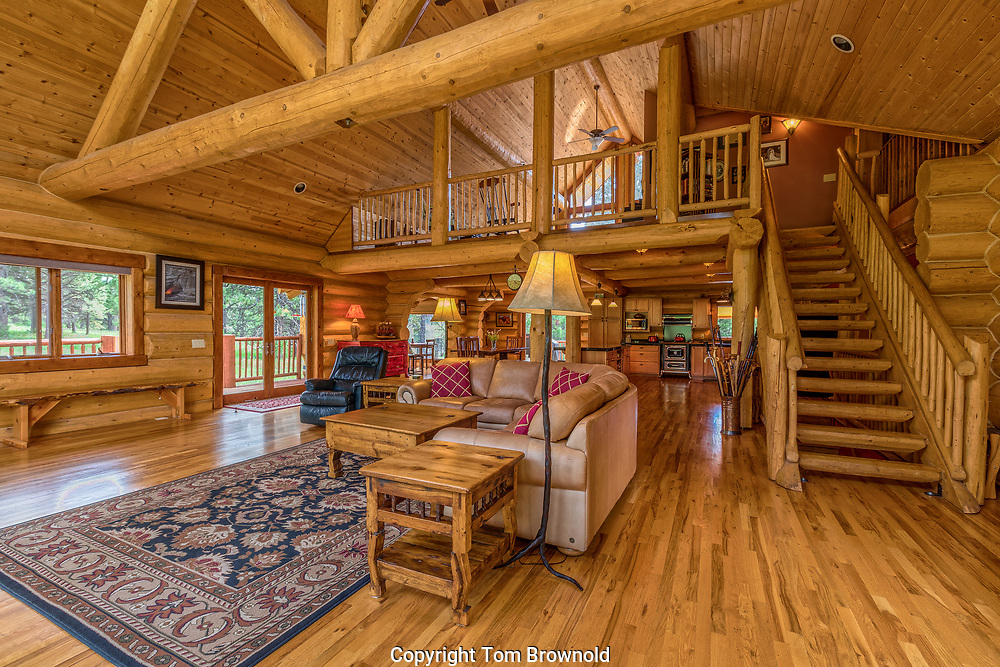 Rustic Real estate interior common areas. Interior floor layout of a mountain lodge's common area