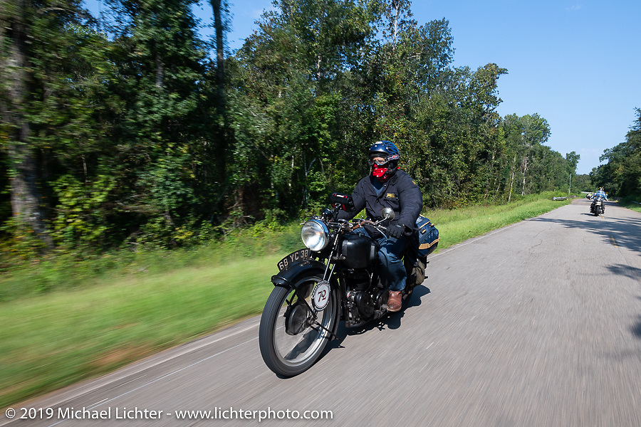 Larry Luce riding his 1938 Velocette KSS in the Cross Country Chase motorcycle endurance run from Sault Sainte Marie, MI to Key West, FL. (for vintage bikes from 1930-1948). Stage-7 covered 249 miles from Macon, GA to Tallahassee, FL USA. Thursday, September 12, 2019. Photography ©2019 Michael Lichter.