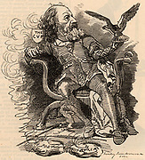 Alfred the Great: Alfred Tennyson, lst Baron Tennyson (1809-1893) English poet. Succeeded William Wordsworth as Poet Laureate in 1850.  Cartoon by Edward Linley Sambourne in the Punch's Fancy Portraits series from 'Punch' (London, 15 March 1882).