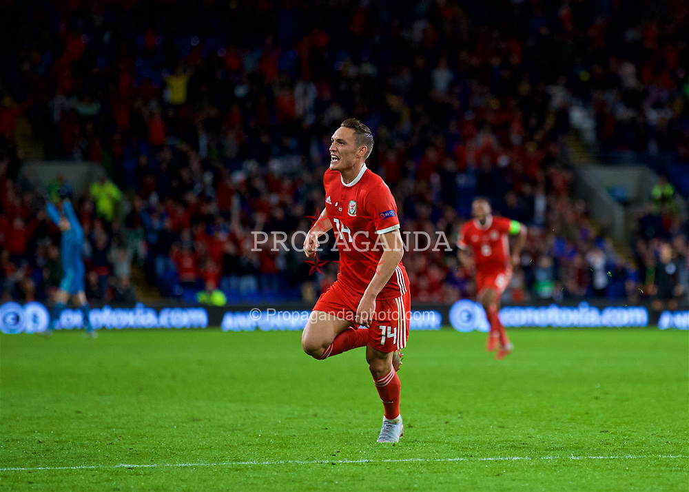 CARDIFF, WALES - Thursday, September 6, 2018: Wales' Connor Roberts celebrates scoring the fourth goal during the UEFA Nations League Group Stage League B Group 4 match between Wales and Republic of Ireland at the Cardiff City Stadium. (Pic by Paul Greenwood/Propaganda)