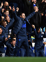 Football - 2019 / 2020 Premier League - Chelsea vs. Tottenham Hotspur<br /> <br /> Chelsea Manager Frank Lampard celebrates the opening goal scored by Olivier Giroud, at Stamford Bridge.<br /> <br /> COLORSPORT/ASHLEY WESTERN
