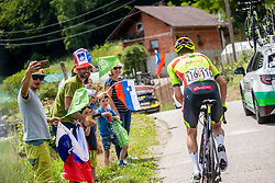Tom PAQUOT of BINGOAL PAUWELS SAUCES and Fans during 3rd Stage of 27th Tour of Slovenia 2021 cycling race between Brezice and Krsko (165,8 km), on June 11, 2021 in Brezice - Krsko, Brezice - Krsko, Slovenia. Photo by Vid Ponikvar / Sportida