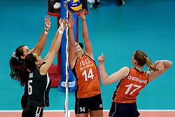 28-09-2014 ITA: World Championship Volleyball Mexico - Nederland, Verona<br /> Nederland wint met 3-0 van Mexico / Laura Dijkema, Carlijn Jans