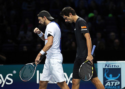 during day two of the NITTO ATP World Tour Finals at the O2 Arena, London. PRESS ASSOCIATION Photo. Picture date: Monday November 13, 2017. Photo credit should read: John Walton/PA Wire. RESTRICTIONS: Editorial use only, No commercial use without prior permission