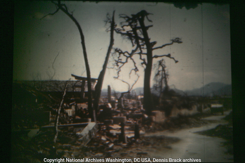 A 16mm.frame grab from US Armed Forces color film shot in Nagasakidays after the bombing of Nagasaki