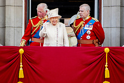 Queen Elizabeth II, Prince Charles, Prince Andrew. British Royal family on the balcony during celebration of the Trooping the Colour in London, UK, on June 08, 2019. Meghan Duchess of Sussex Princess Meghan Markle and Prince Harry British Royal Family at Trooping the Colour Queen Elizabeth, The Prince of Wales Charles, The Duchess of Cornwall Camilla, The Duke and Duchess of Cambridge, Prince George, Princess Charlotte Prince Louis Arthur Charles , Prince Andrew and Princess Anne in London, United Kingdom, trooping the colour , The annual trooping the color is to honor the Queens official birthday. Photo by Robin Utrecht/ABACAPRESS.COM