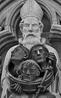 Statues and Gargoyles at the Nidaros Cathedral in Trondheim.  Image taken with a Nikon 1 V2 camera and 180 mm f/2.8 lens using the FT1 adapter (equivalent to 486 mm on a 35 mm sensor).