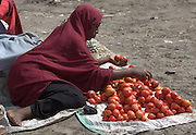 Africa, Tanzania, Frontier Market selling tomatoes The goods are placed on a blanket on the ground