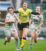 Twickenham, Surrey. UK.  Clare DONALSON, in space, running with the ball, during the 2017 Women's Varsity Rugby Match, Oxford vs Cambridge Universities. RFU Stadium, Twickenham. Surrey, England.<br /> <br /> Thursday  07.12.17  <br /> <br /> [Mandatory Credit Peter SPURRIER/Intersport Images]