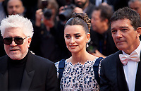 Director Pedro Almodóvar, Actress Penelope Cruz and Actor Antonio Banderas at the Dolor Y Gloria (Pain and Glory) gala screening at the 72nd Cannes Film Festival Friday 17th May 2019, Cannes, France. Photo credit: Doreen Kennedy