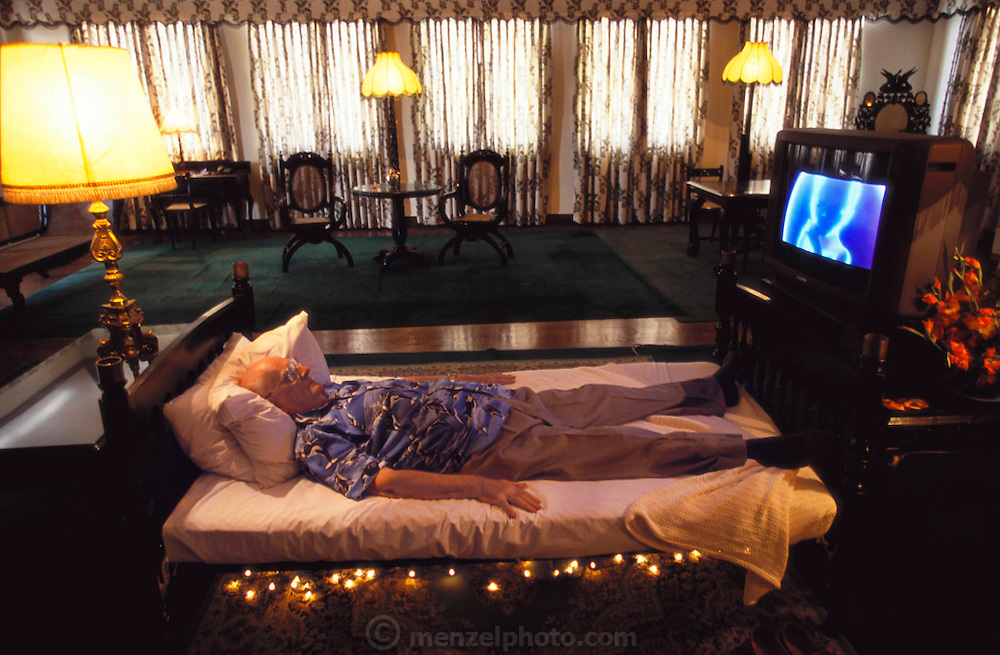 Sir Arthur C. Clarke at Galle Hotel in Colombo, Sri Lanka. Sir Arthur Clarke watches DVD of 2001: A Space Odyssey. (wrote 3001 at Hotel) (He has post-polio syndrome) Best known for the book 2001: A Space Odyssey. MODEL RELEASED