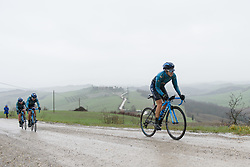 Rachel Neylan battles up gravel sector five at Strade Bianche - Elite Women 2018 - a 136 km road race on March 3, 2018, starting and finishing in Siena, Italy. (Photo by Sean Robinson/Velofocus.com)