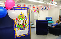 Camp Bastion, Afghanistan  29/04/2011. The Royal Wedding of HRH Prince William to Kate Middleton. Staff from the military hospital in Camp Bastion start the day by watching some of the build up footage for the Royal Wedding before starting their shifts on the wards. Photo credit should read Alison Baskerville/LNP. Please see special instructions. © under license to London News Pictures