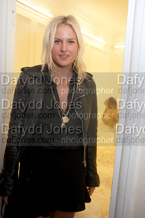 OLYMPIA SCARRY IN FRONT OF HER  INSTALLATION. , Paradise Row   Play: A Festival of Fun!   Launch Party. 50 Upper Brook St. London. 8 October 2009