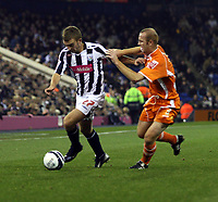 Photo: Mark Stephenson.<br /> West Bromwich Albion v Blackpool. Coca Cola Championship. 23/10/2007.West Brom's James Morrison holds off Stephen Crainey